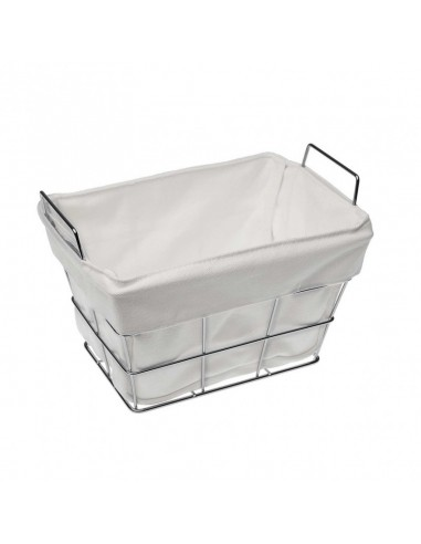 Cesta pan  metal plata rectangular