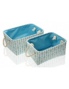Set  2 cestas rectangulares azul