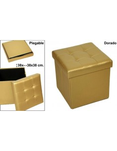 Puff color oro plegable